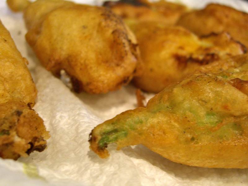 Close-up of Fried Zucchini Flowers