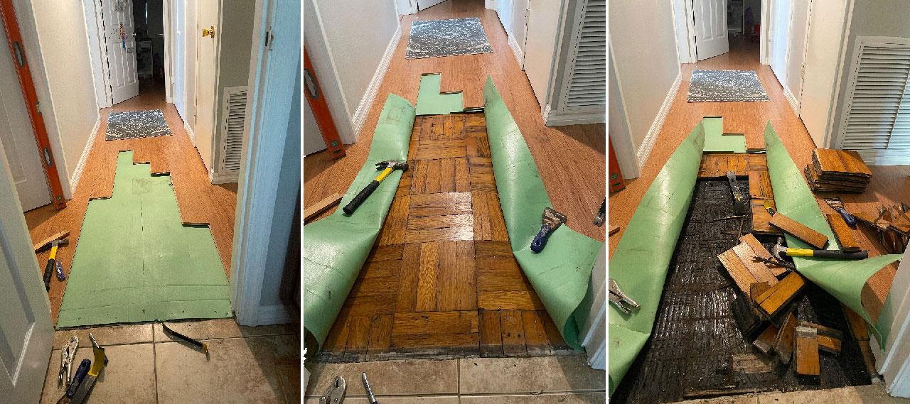Three photos of hallway floor demolition