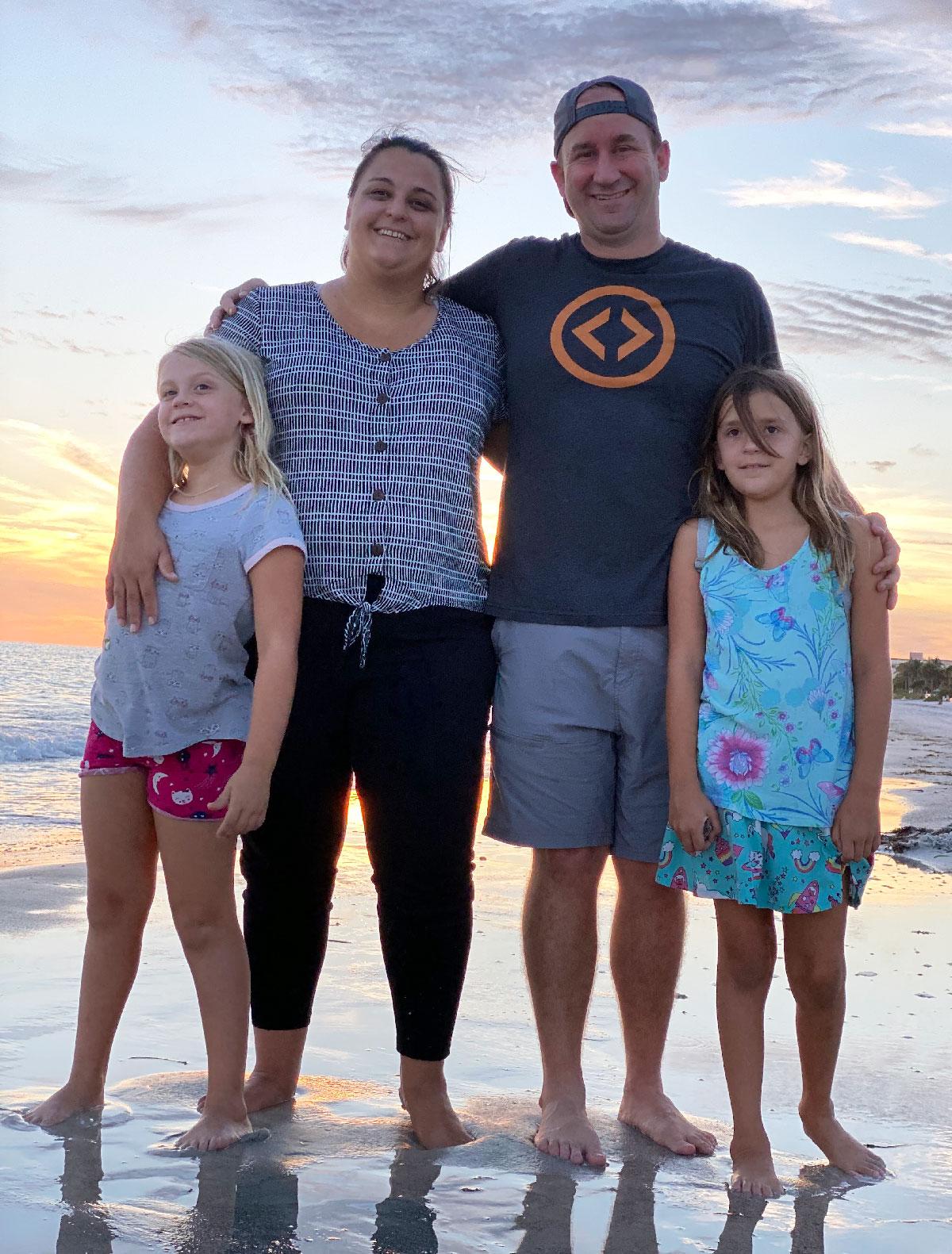 Family photo at the beach.